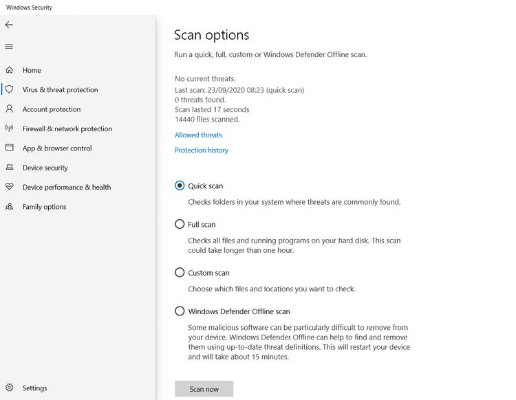 антивирусное сканирование Windows