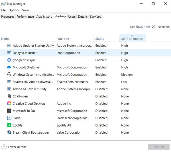 запуск диспетчера задач Windows